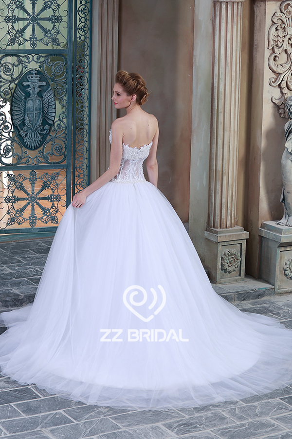 beaded wedding dress see through wedding dress ball gown