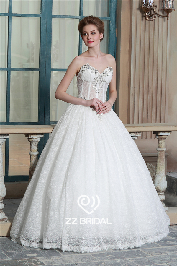 Beaded Wedding Gown Princess Wedding Gown Sweetheart Neckline Wedding Gown