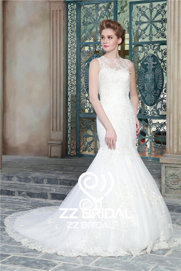 sleeveless wedding gown, mermaid wedding gown, lace bottom wedding gown