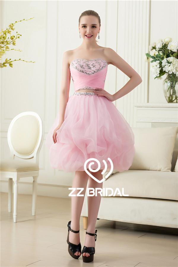 Rosa lindo vestidos de niña, de dos piezas Vestido de noche corto ...