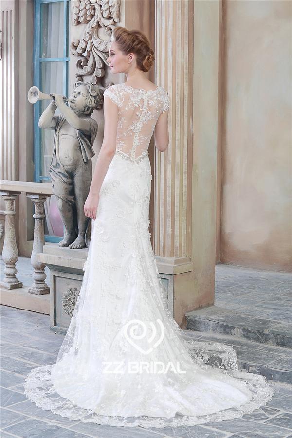 v-Ausschnitt Brautkleid, GAP Ärmel Brautkleid, Hochzeitskleid ...
