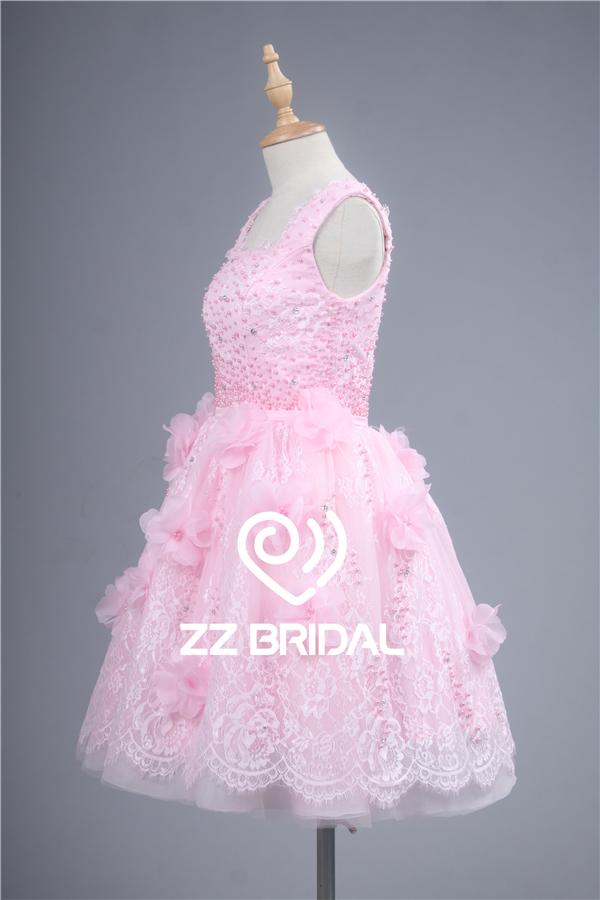 lindo vestido de noche de encaje, escote cuadrado vestido de noche ...