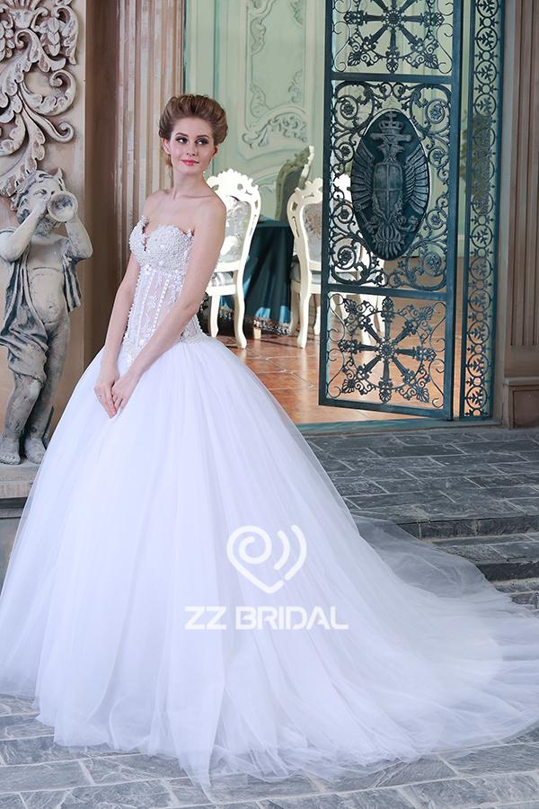 Perlen Hochzeitskleid, sehen durch Kugel-Kleid-Brautkleid ...