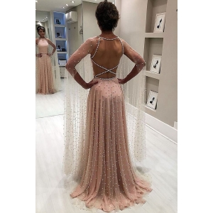 2019 new design Beaded Evening Dresses Long Sleeve Ladies casual Dresses