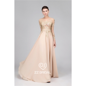 A-Line sequined long sleeve belt nude long evening dress made in China