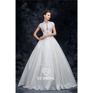 Actual images high neck cap sleeve beaded see-through princess wedding dress china supplier