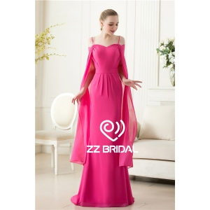 Actual images spaghetti strap  red rose chiffon evening dress with shawl