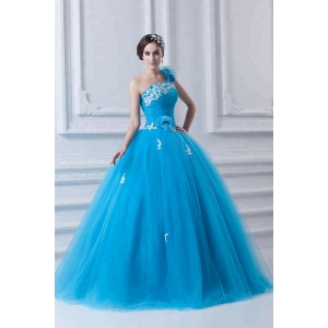 Blue appliques ruffle one shoulder ball gown cheap prom dress 2019