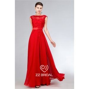 Bright red chiffon beaded scoop neckline cap sleeve v-back long evening dress supplier