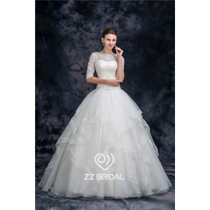 Charming half sleeve illusion neckline full length organza princess wedding dress  manufacturer