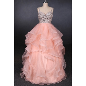 China Suzhou Wedding Supplier Sweetheart Beadings Organza Sequins Ruffles Pink Wedding Dress Bridal Gown