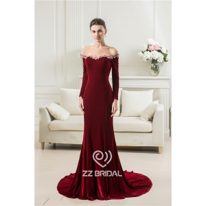 China off shoulder beaded sweetheart neckline long sleeve velvet long mermaid evening dress