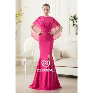 China supplier side split chiffon mermaid long rose red evening dress with shawl