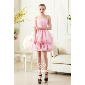 Cute strapless ruffled pearls pink ball gown short evening dress manufacturer