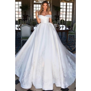 Elegant Luxury Long Train Off Shoulder Beaded Lace Real Image Wedding Dresses Italian Satin Bridal Gowns 2019