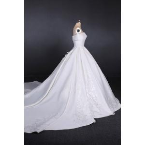 Elegante Bruidsjurken.Elegante Italiaanse Satijnen Trouwjurken Luxe Kralen Lange Foto In