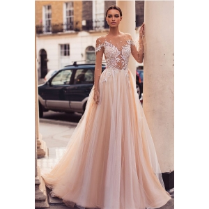 Elegant Vestido De Lace Champagne Long Sleeve Illusion Wedding Dress A Line Bridal Gowns 2019