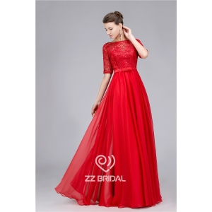 Elegant beaded guipure lace half sleeve red long evening dress made in China