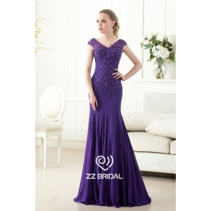 Elegant cap sleeve beaded sequined v-back mermaid purple long evening dress supplier