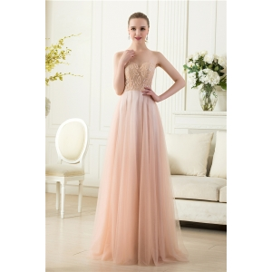 Elegant invisible tulle sleeveless beaded floor length nude long evening dress factory