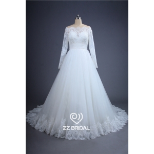 Elegant long sleeve beaded see through back lace bottom wedding dress China