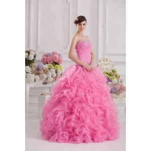 Heavy Beading Pink Ball Gown Quinceanera Prom Dress