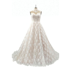 High Neck Back SeeThrough Layered Organza Skirt long Lace Suzhou Wedding Dresses