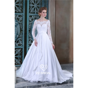 High end long sleeve appliqued lace bodice a-line wedding gown from China