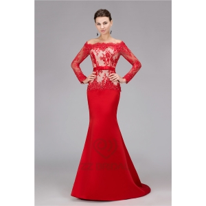 High quality long sleeve off shoulder beaded long red mermaid evening dress supplier
