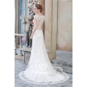 Hot online v-neck see through back cap sleeve lace bottom mermaid wedding dress