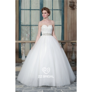 Hot sale sweetheart neckline beaded lace ball gown bridal dress 2016 manufacturer