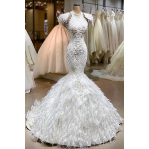 Latest Design Luxury Mermaid Sexy Long Train Vestido De Novia wedding dress ball gown