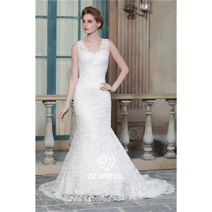 Mermaid style full bodice guipure lace appliqued sleeveless v-neck and v-back wedding dress