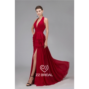 Most fashionable V-neck halter ruffled clare-red long evening gown manufacturer