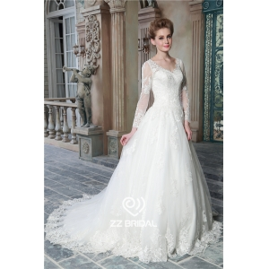 New arrival long sleeve v-neck lace appliqued a-line bridal dress supplier