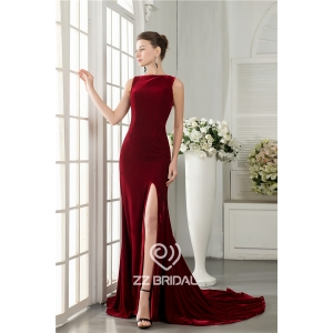 New style velvet sleeveless back bowknot side split mermaid long evening dress