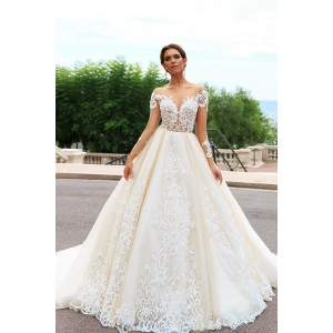 OEM long tail wedding dresses wedding dress Luxurious vestido de noiva with sleeve