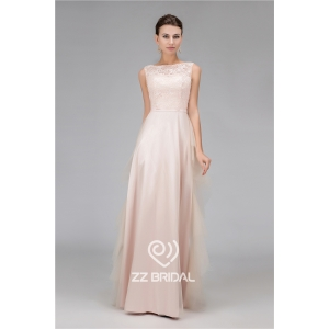 Real pictures beaded scoop neckline sleeveless champagne long evening dress supplier