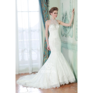 Sign sewing beads hanging neck sleeveless lace applique trailing fishtail wedding dress