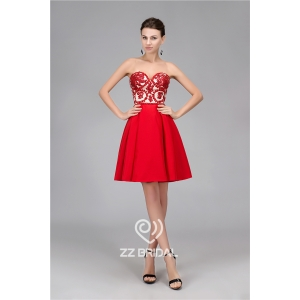 Real pictures sweetheart neckline backless red short evening dress supplier