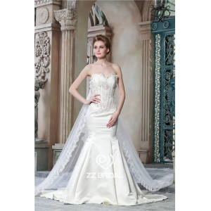 See through corset sweetheart neckline mermaid wedding dress with long lace shawl