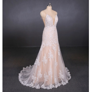 Sexy Spaghetti Strap Lace Casual Bridal Gowns Manufacture A