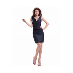 Sexy V Neck Handmade Flower Black Cocktail Dresses With Strap