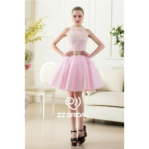 Sexy full bodice pearls halter back out two piece pink short evening dress