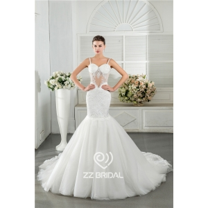 Sexy spaghetti strap sweetheart neckline see-through mermaid bridal dress supplier