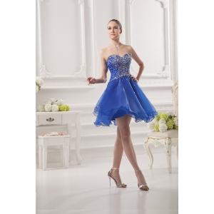 Short Prom Dress Girls Puffy Skirt Sweetheart Beaded Organza Blue Cocktail Dress