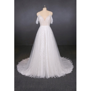 Spaghetti Strap Wedding Dress Bridal Gown a line beading Bridal Dresses