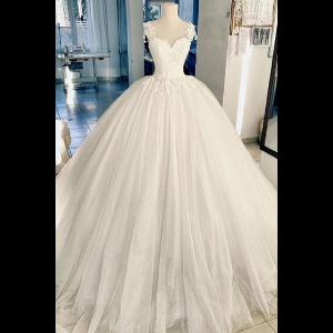 Sweetheart Neck 3d Flowers Ball Gown Elegant Wedding Dress Custom