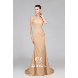 Top quality one long sleeve see through back mermaid long evening dress supplier