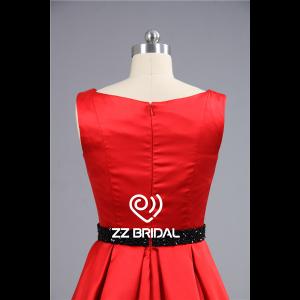444c6e4b509 Satin rouge traditionnel encolure perlée ceinture noire robe de soirée  courte Chine